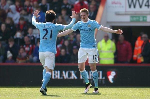 De Bruyne buteur lors de la victoire de Manchester City 4-0 à Bournemouth