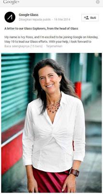 Ivy Ross, Direktur Baru di Divisi Google Glass