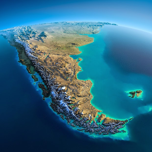 South America - Fascinating Relief Maps Show The World's Mountain Ranges
