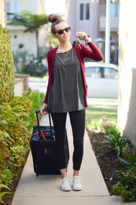 14. Pair your leggings with a cute sweater dress and heels ...