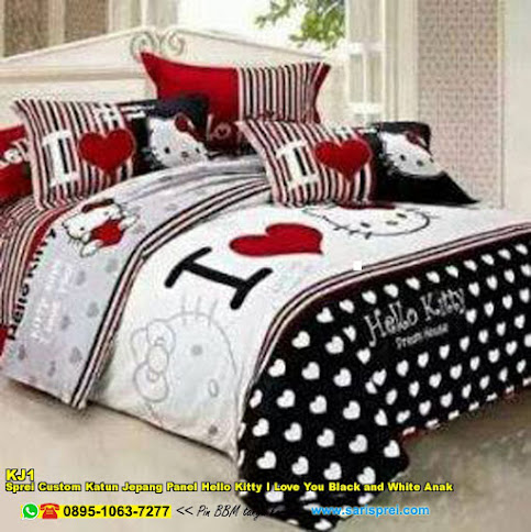 Sprei Custom Katun Jepang Panel Hello Kitty I Love You Black And White Anak