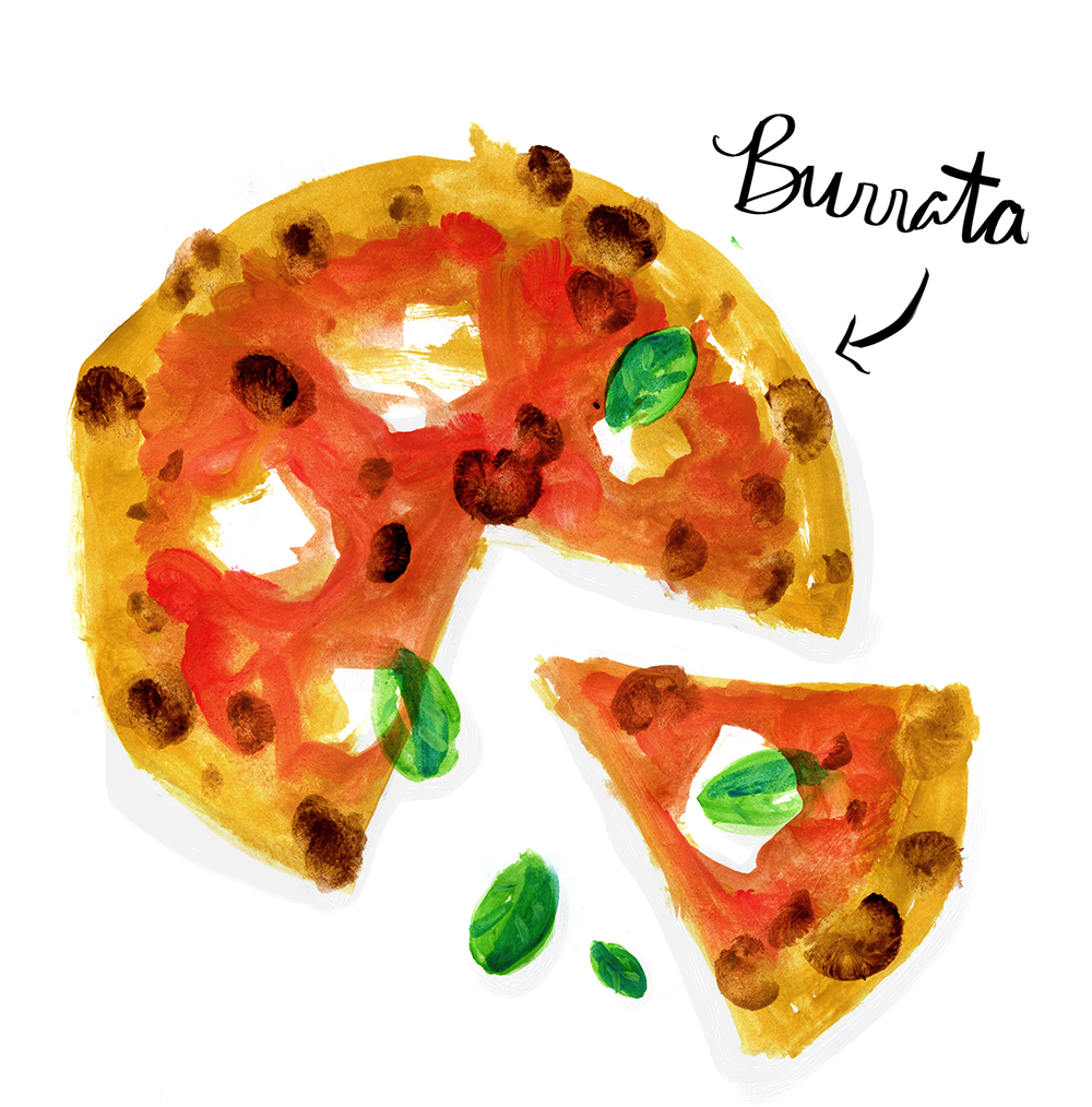 burrata pizza illustration lauren monaco