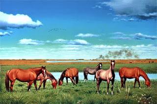 paisajes-campos-con-caballos corceles-pinturas-realistas