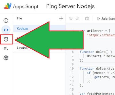 lokasi tombol icon jam weker google script