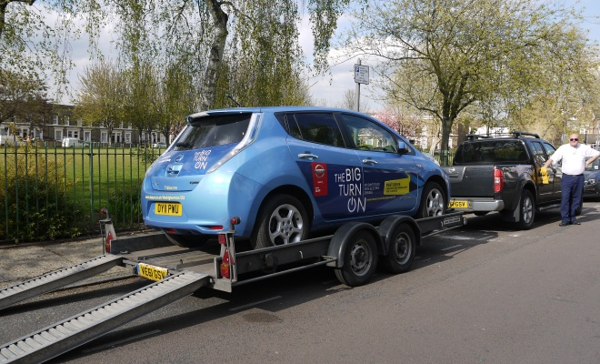 Nissan Leaf on a trailer