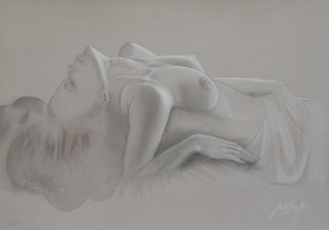 Gregorio Sabillón, arte latinoamericana, dibujo surrealista, desnudo