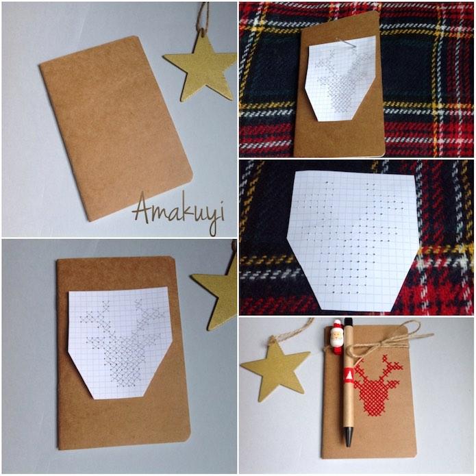 proceso para bordar la tapa de una libreta con un dibujo a punto de cruz con forma de ciervo