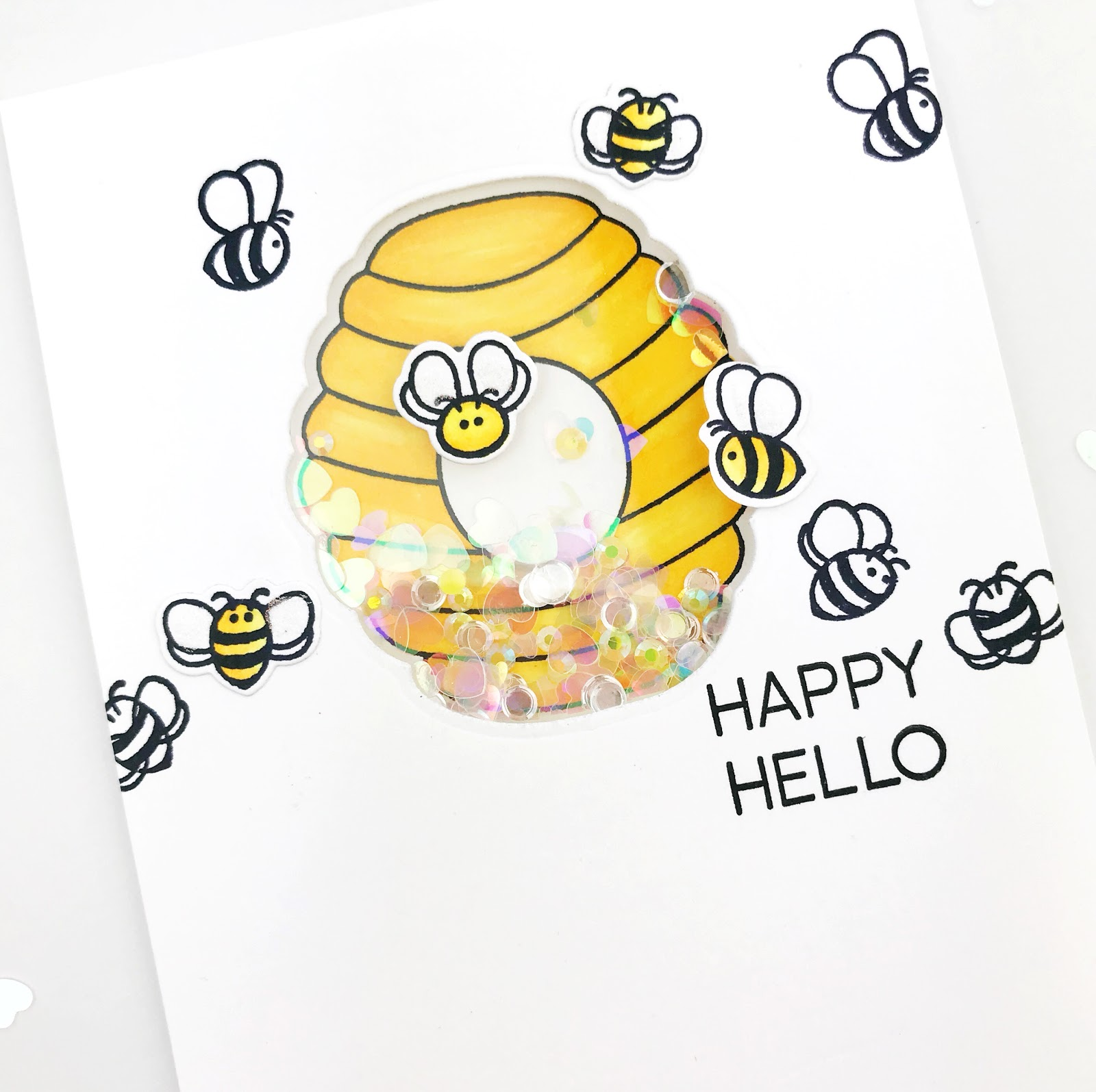 carly tee bitty bee shaker cards honey bee sneak peeks day 1 Water Sources for Bees this shaker card has the bee hive st ed copic colored on the front the shaker panel placed over top and lots of bitty bees added