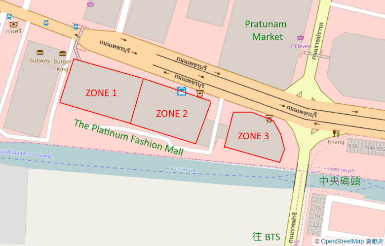 The Platinum Fashion Mall 區域地圖