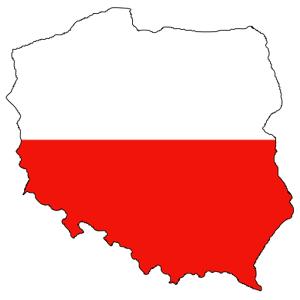 карта Польши в виде польского флага