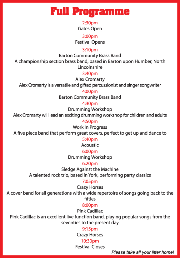 Bielby Village News Bielby Music Festival Sunday 27th August 2017