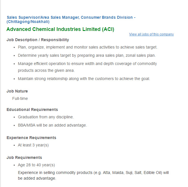 Advanced Chemical Industries Limited (ACI) Sales Supervisor/Area ...