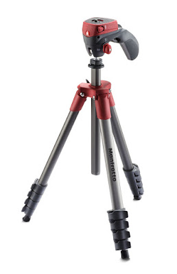 Manfrotto Compact Action - Trípode completo, rojo