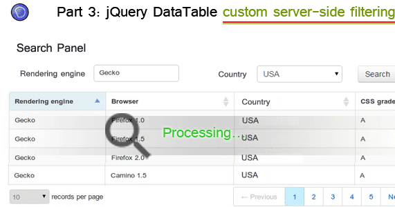 Implement custom multicolumn server-side filtering in jQuery