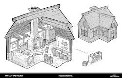 Heru Purwanda: Medieval House Interior cutaway