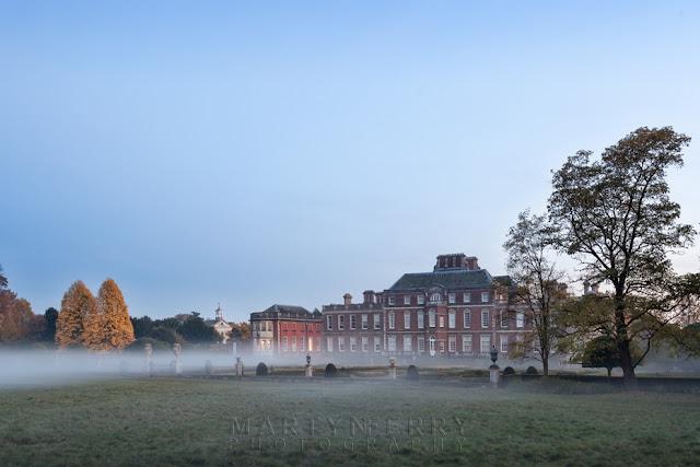 Looking towards Wimpole Hall at sundown on an autumn evening