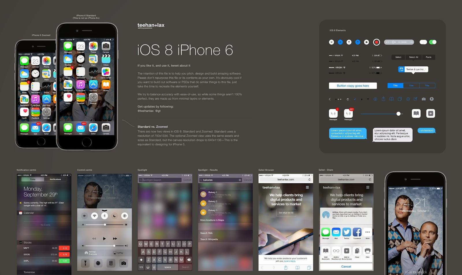 Plantilla de elementos GUI de iOS 8 para Photoshop - SomosDesigners ...