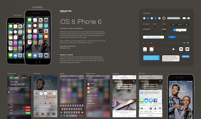 Plantilla de elementos GUI de iOS 8 para Photoshop
