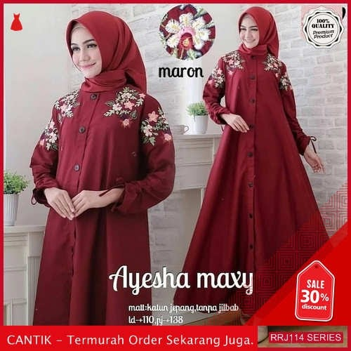 Jual RRJ114D186 Dress Bordir Ayesha Wanita Maxy Sk Terbaru BMGShop