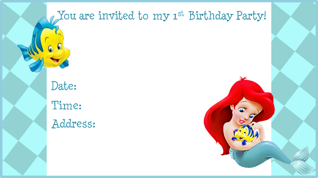 Ariel and Flounder, Free Printable Invitations, Labels or Cards.