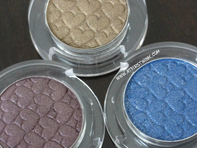 Etude House eyeshadow mono purple, brown-gold, blue