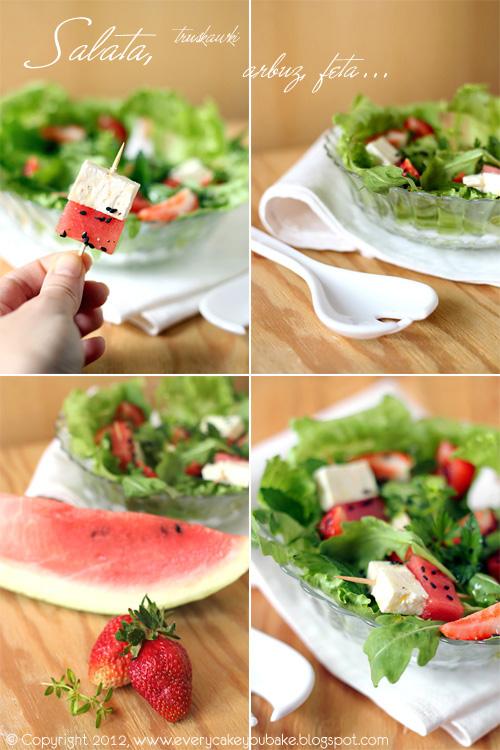 soczysta sałatka z arbuzem truskawkami i fetą