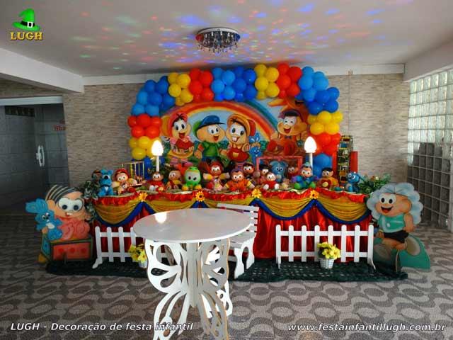 Decoração de aniversário de 1 ano temático com a Turma da Mônica - Mesa de tecido luxo