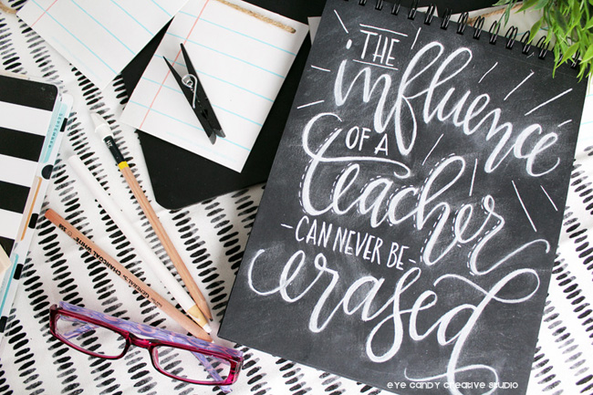 hand lettering, chalkboard, teacher appreciation, teacher gift ideas