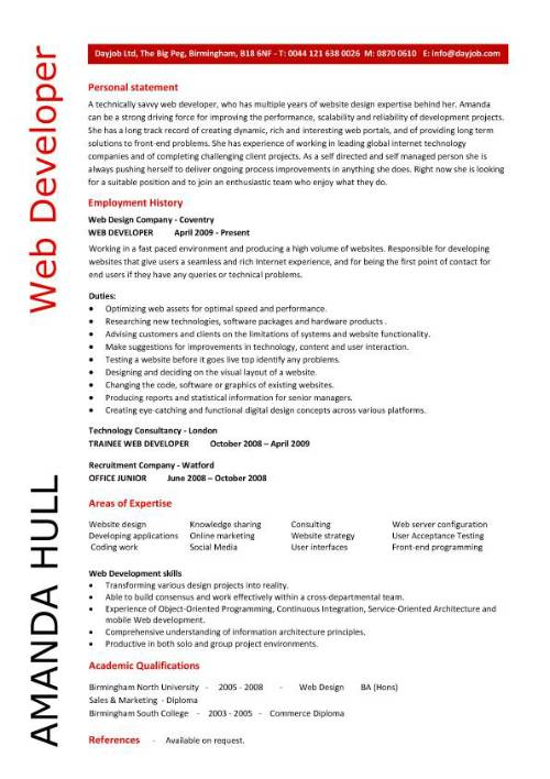 Resume Website Design Examples Web Design Resume Sample Sample