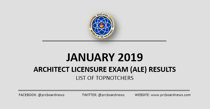 TOP 10 PASSERS: January 2019 Architect board exam ALE results