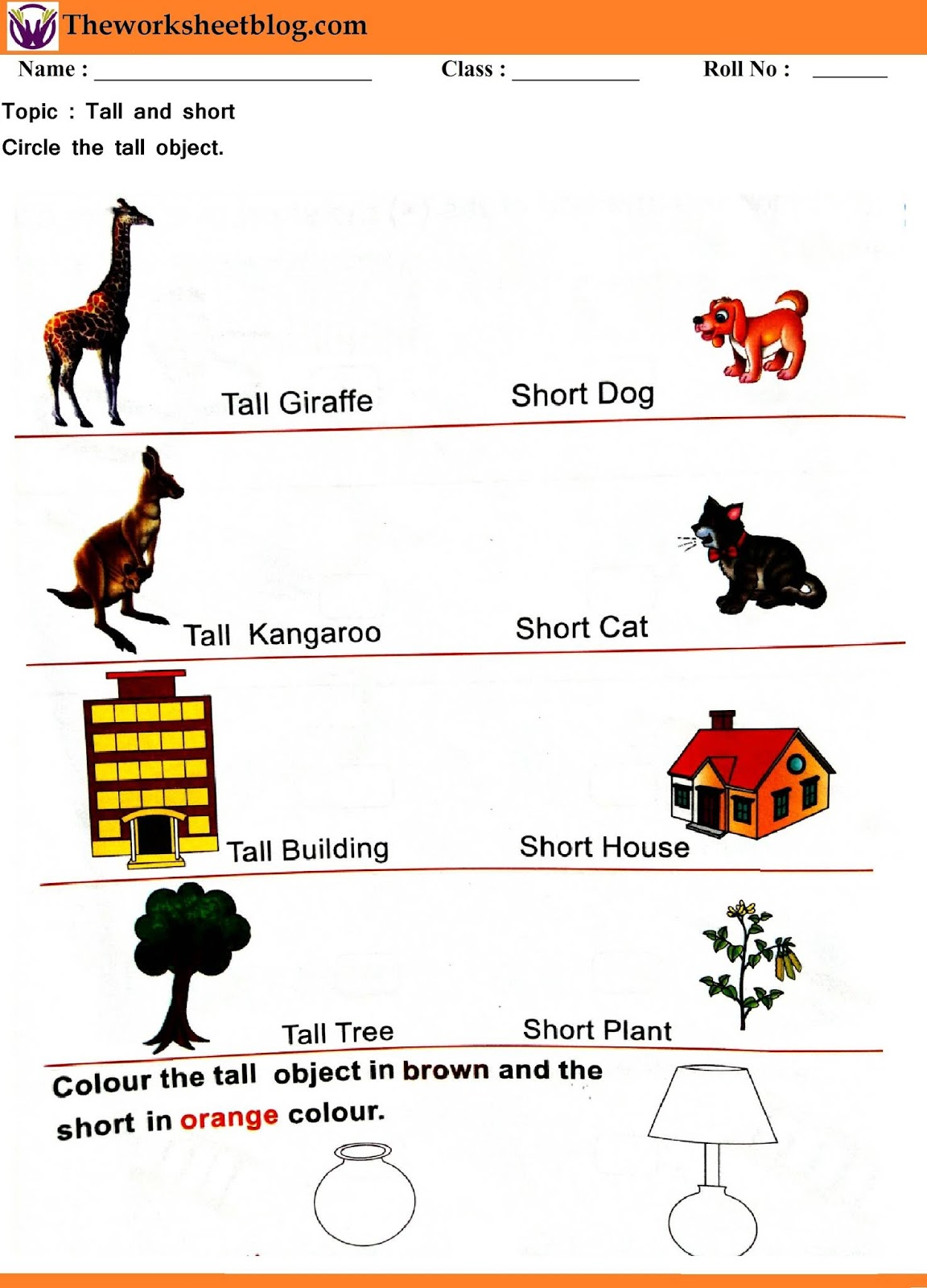 Tall And Short Worksheet For Kindergaten