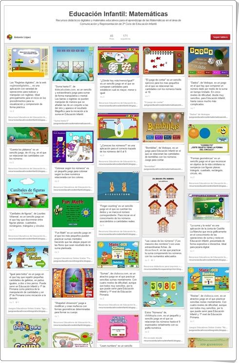 """""""Tablero con más de 70 juegos y actividades de Matemáticas de Educación Infantil"""""""