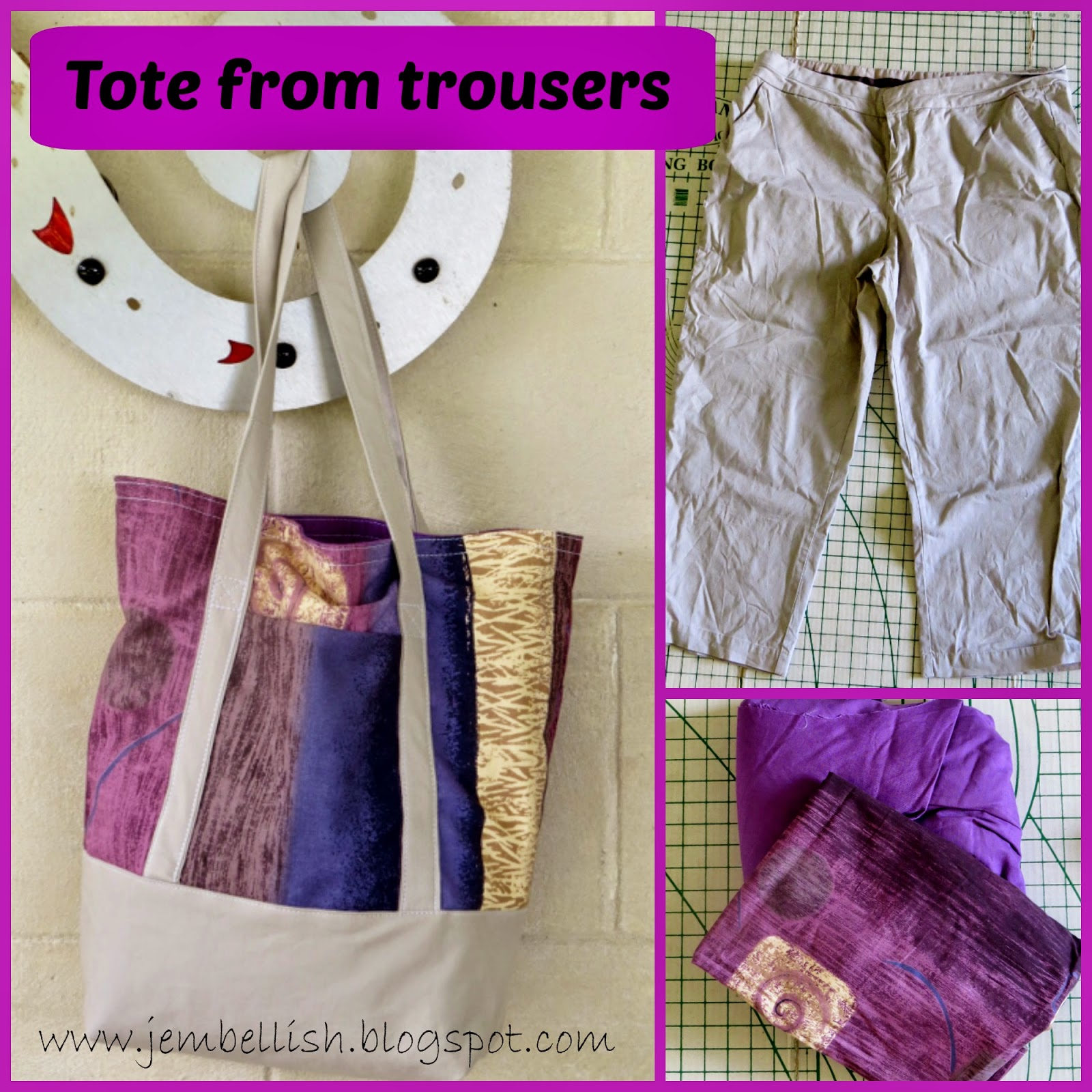 Lined Tote upcycled from Trousers