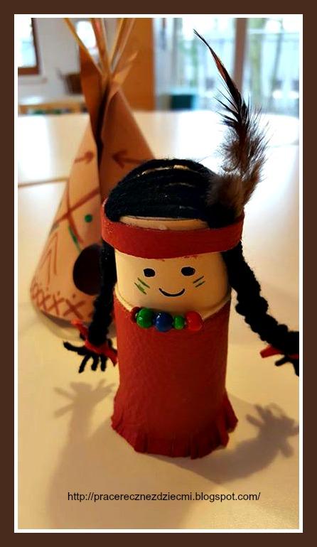 Prace ręczne dla dzieci i dorosłych: Indianin z rolki papieru