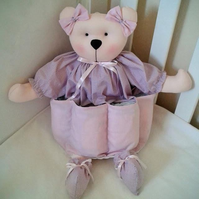 Ursa porta fralda para decoração de quarto de bebê