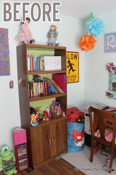 Color Block Book Shelf -- learn how to paint your own book shelf with a color block twist.  A colorful addition to any kid or teen room...or change up the colors for any space in your home.