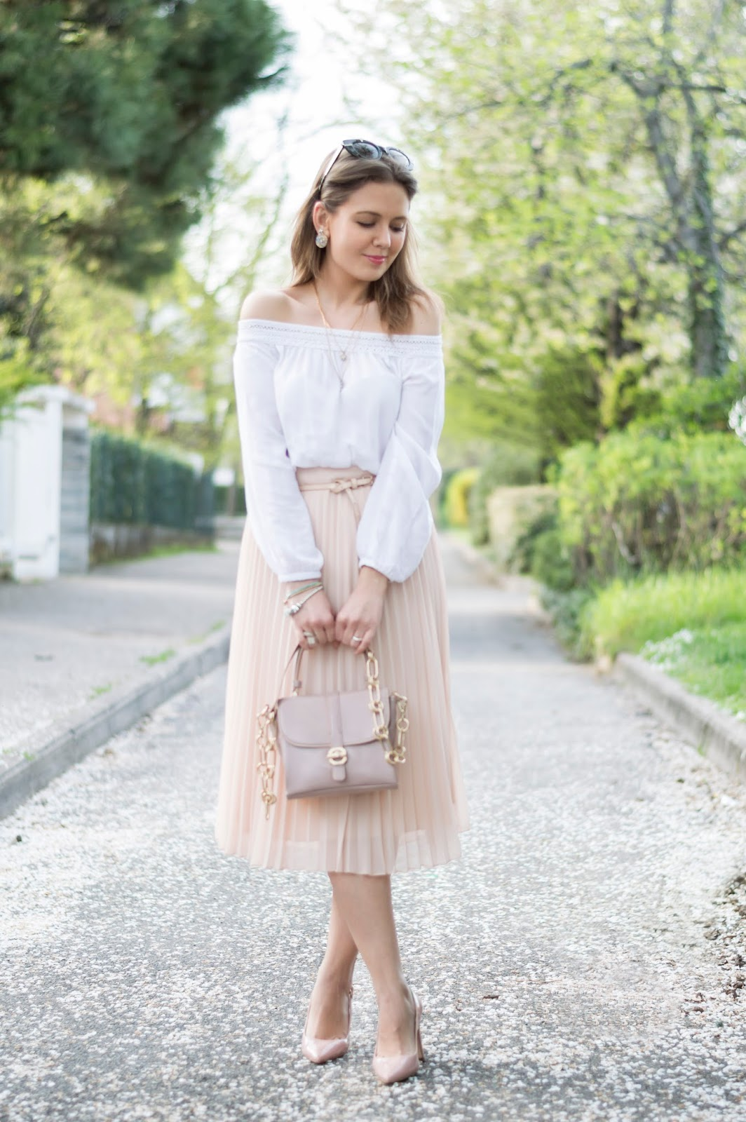 Pretty in Pink  Gonna plissè e blusa off the shoulder - Ellysa f617d4f69d8