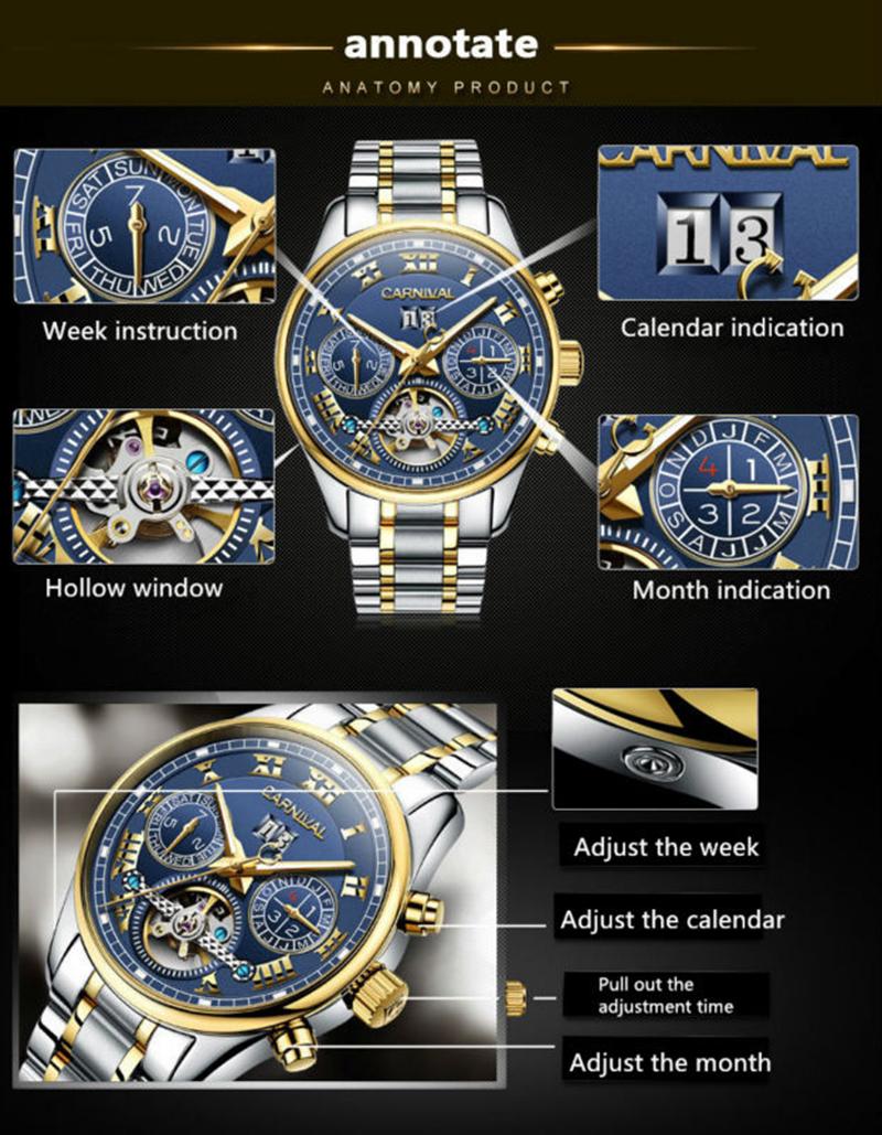 đồng hồ cơ Carnival có lịch tháng
