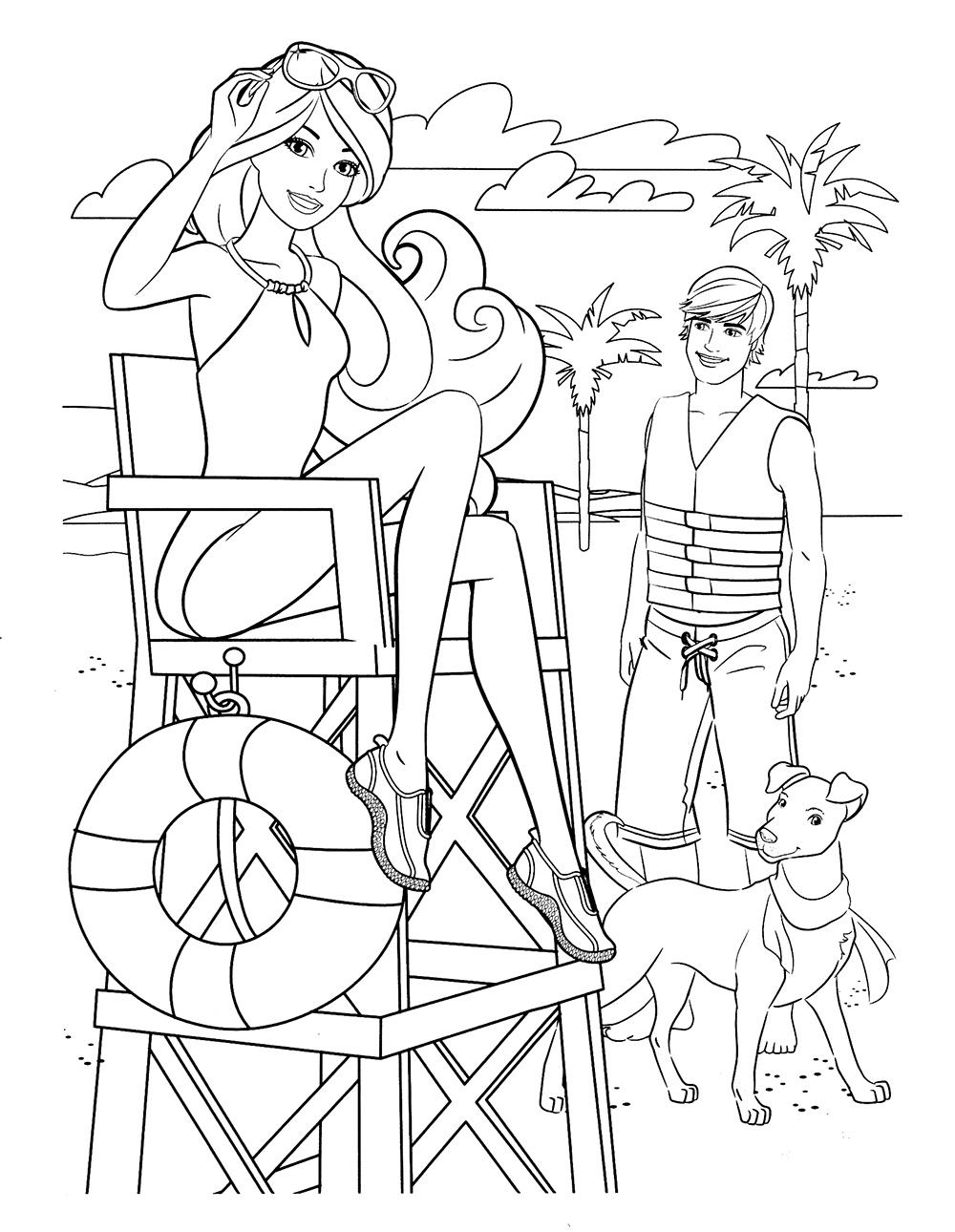 Зачарованный мир: Раскраски Барби на пляже