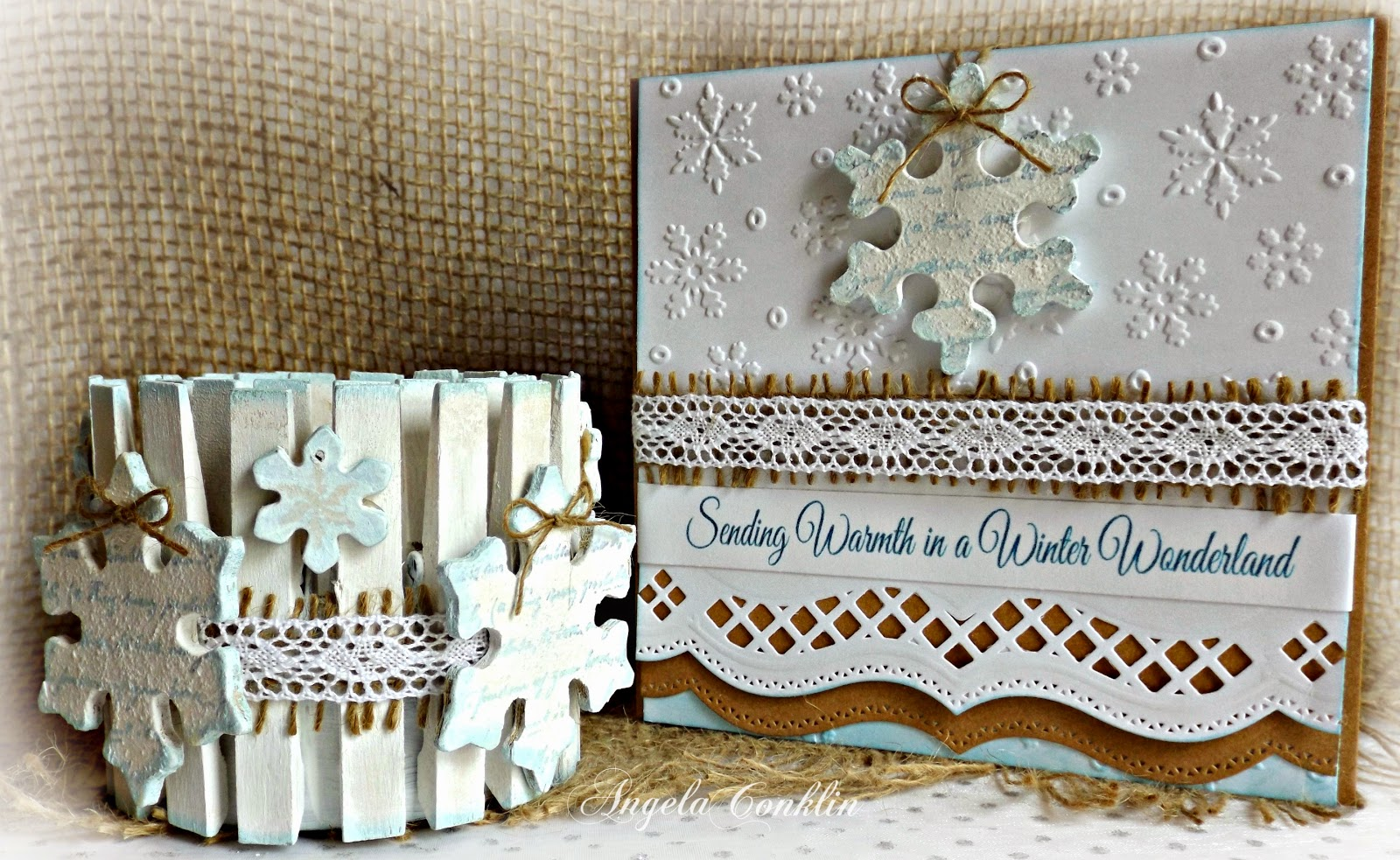 Repurposed Can - Winter Wonderland Tree Ornament Card and Clothespin Candle Gift Set