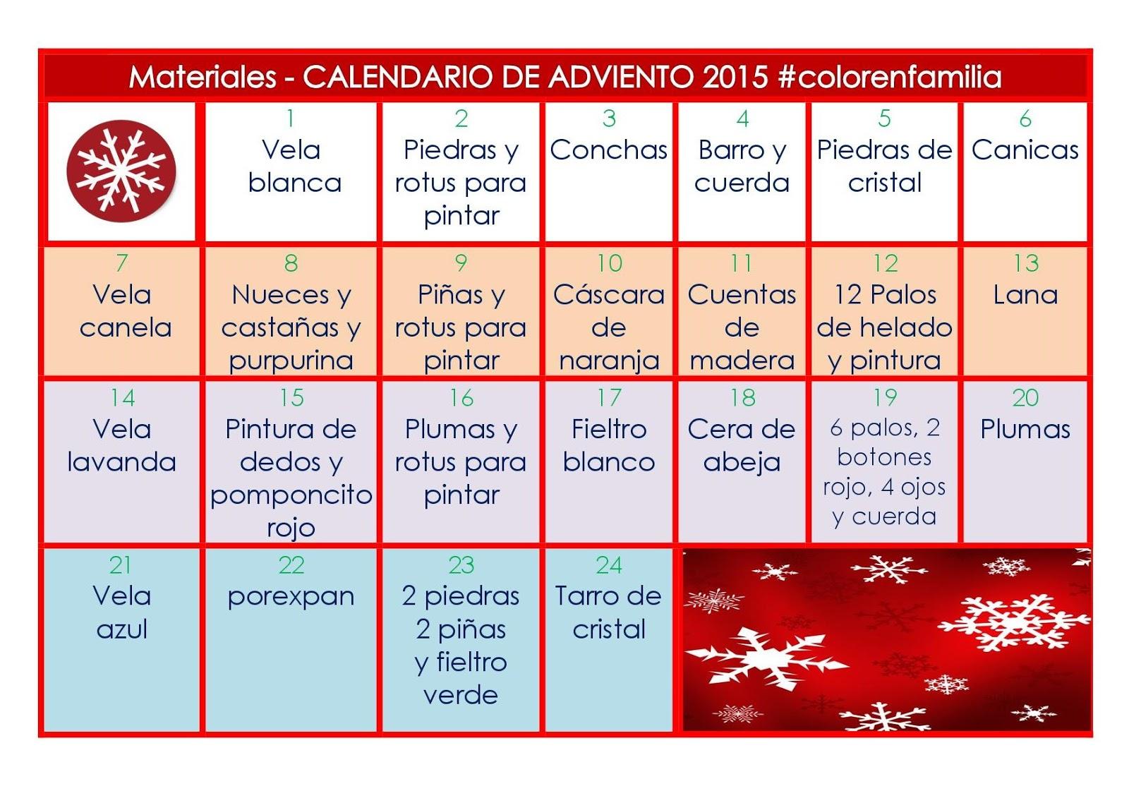 Color En Familia Waldorf Calendario De Adviento 2015 Lista De - Calendario-de-adviento