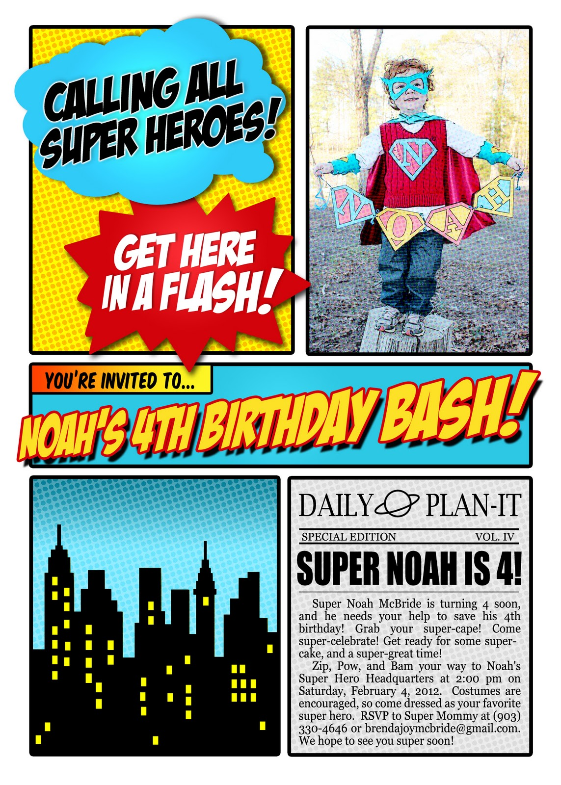 Choosing Joy Today Super Noah S 4th Birthday Invitation