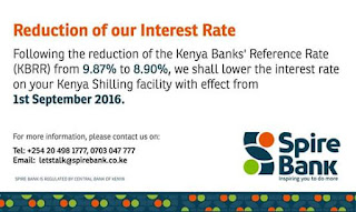 Spire bank Kenya reduces interest rates on loans