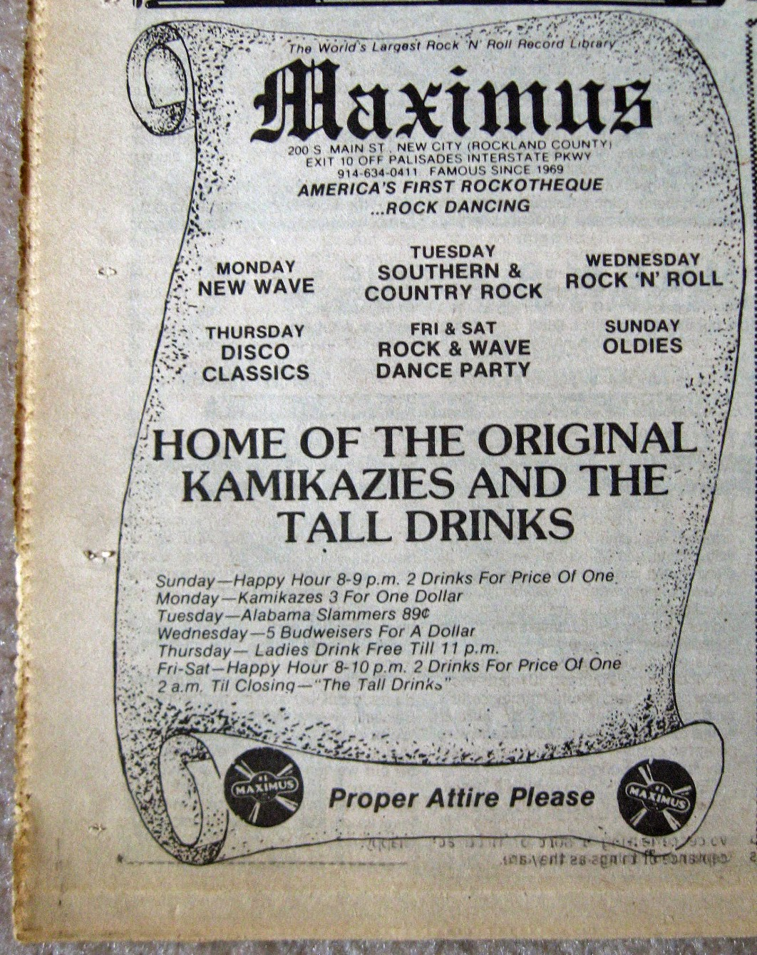Maximus music style line up 1981