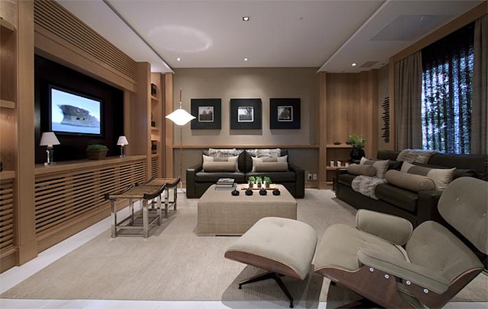 Sala Com Tv Na Janela ~ Móveis com madeira ripada para esconder ar condicionado e