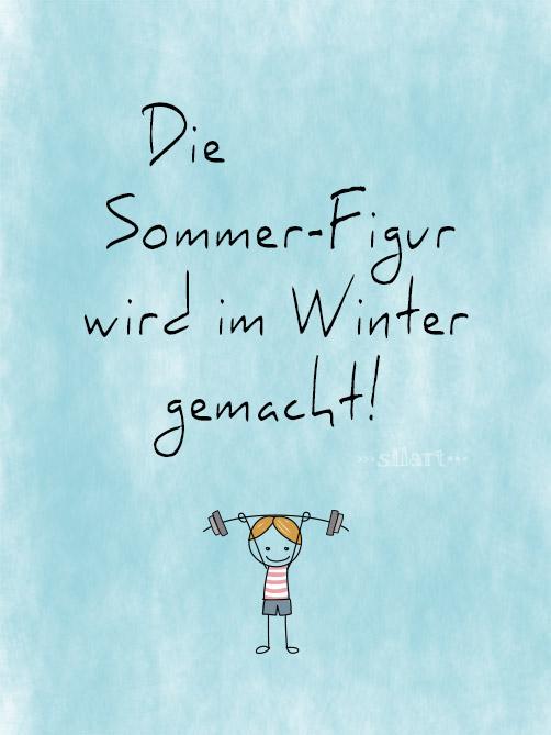 Die Sommerfigur wird im Winter gemacht, lettering card