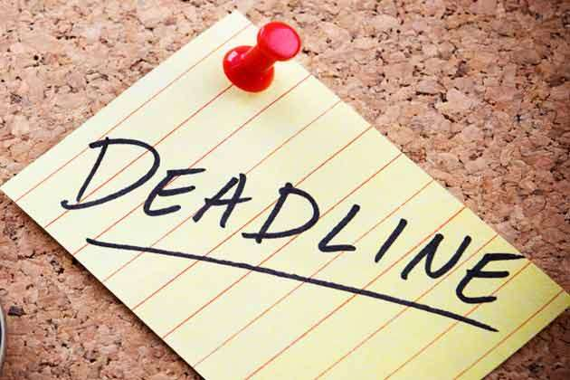 Deadline -  last day to complete these three important works