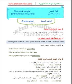 تعلم زمن الماضي البسيط في صيغة الإثبات و النفي في اللغة الانجليزية