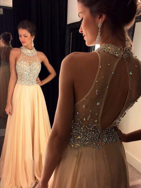 A-line High Neck Floor-length Chiffon Prom Dresses/Evening Dresses