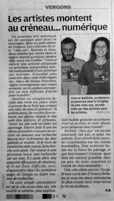 Chez.xyz dans le journal La Provence